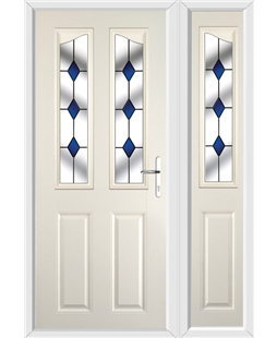 The Birmingham Composite Door in Cream with Blue Diamond and matching Side Panel