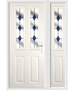The Cardiff Composite Door in Cream with Blue Diamond and matching Side Panel