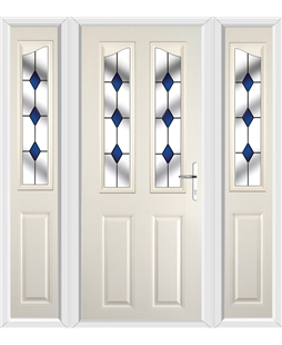 The Birmingham Composite Door in Cream with Blue Diamonds and matching Side Panels