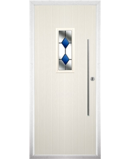 The Zetland Composite Door in Cream with Blue Diamonds