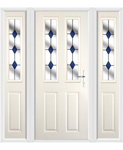 The Cardiff Composite Door in Cream with Blue Diamonds and matching Side Panels