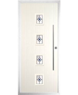 The Leicester Composite Door in Cream with Blue Fusion Ellipse