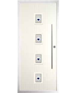 The Leicester Composite Door in Cream with Blue Murano