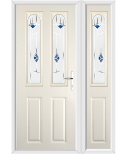 The Aberdeen Composite Door in Cream with Blue Murano and matching Side Panel
