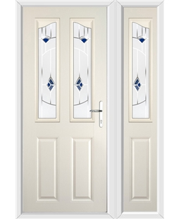 The Birmingham Composite Door in Cream with Blue Murano and matching Side Panel