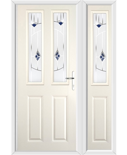 The Cardiff Composite Door in Cream with Blue Murano and matching Side Panel