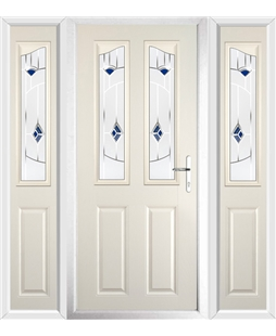 The Birmingham Composite Door in Cream with Blue Murano and matching Side Panels