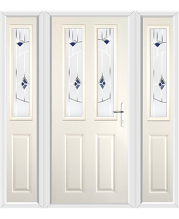 The Cardiff Composite Door in Cream with Blue Murano and matching Side Panels
