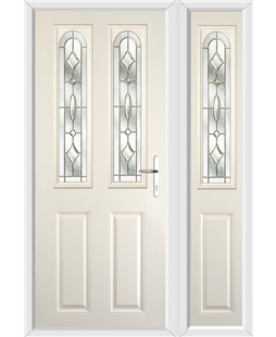 The Aberdeen Composite Door in Cream with Brass Art Clarity and matching Side Panel