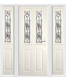 The Cardiff Composite Door in Cream with Brass Art Clarity and matching Side Panels