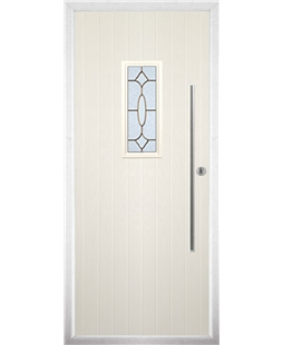 The Zetland Composite Door in Cream with Brass Art Clarity