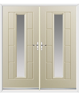 Vermont French Rockdoor in Cream with Glazing