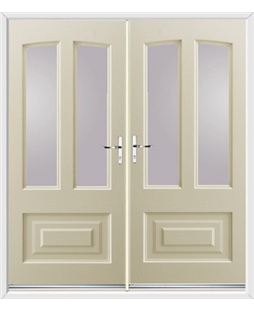 Illinois French Rockdoor in Cream with Glazing