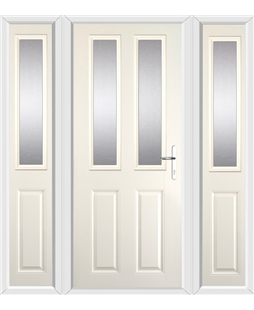 The Cardiff Composite Door in Cream with Glazing and matching Side Panels