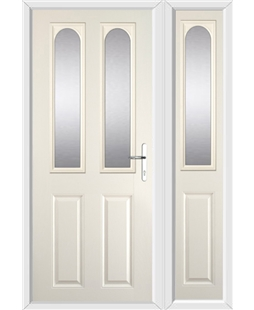 The Aberdeen Composite Door in Cream with Glazing and matching Side Panel