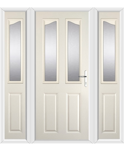 The Birmingham Composite Door in Cream with Glazing and matching Side Panels