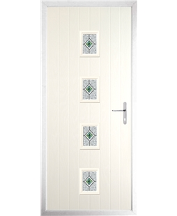 The Uttoxeter Composite Door in Cream with Daventry Green