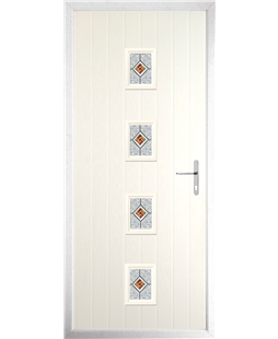 The Uttoxeter Composite Door in Cream with Daventry Red