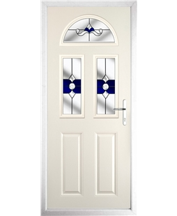 The Glasgow Composite Door in Cream with Blue Crystal Bohemia