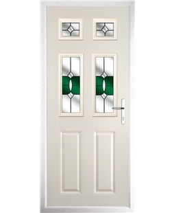 The Oxford Composite Door in Cream with Green Crystal Bohemia