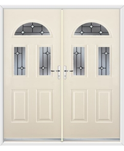 Tennessee French Rockdoor in Cream with Crystal Bevel