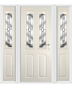 The Birmingham Composite Door in Cream with Crystal Bohemia and matching Side Panels