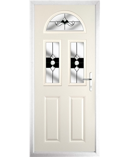 The Glasgow Composite Door in Cream with Black Crystal Bohemia