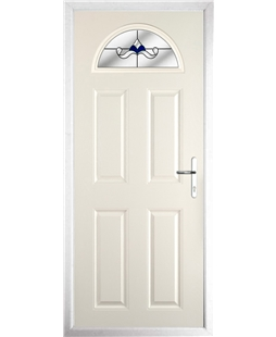 The Derby Composite Door in Cream with Blue Crystal Bohemia