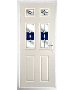 The Oxford Composite Door in Cream with Blue Crystal Bohemia