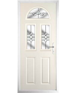 The Glasgow Composite Door in Cream with Clear Crystal Bohemia