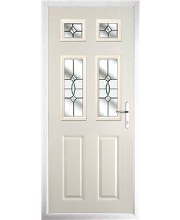 The Oxford Composite Door in Cream with Clear Crystal Bohemia