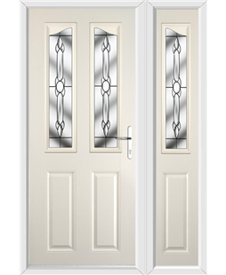 The Birmingham Composite Door in Cream with Crystal Bohemia and matching Side Panel