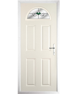 The Derby Composite Door in Cream with Green Crystal Bohemia