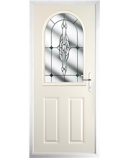 The Edinburgh Composite Door in Cream with Green Crystal Bohemia