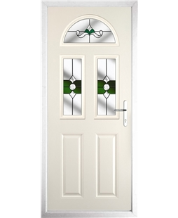 The Glasgow Composite Door in Cream with Green Crystal Bohemia
