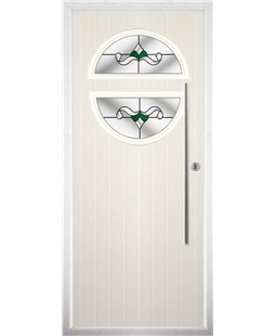 The Xenia Composite Door in Cream with Green Crystal Bohemia