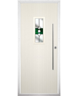 The Zetland Composite Door in Cream with Green Crystal Bohemia