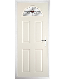 The Derby Composite Door in Cream with Red Crystal Bohemia