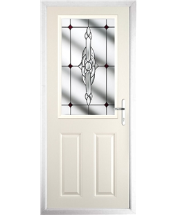 The Farnborough Composite Door in Cream with Red Crystal Bohemia