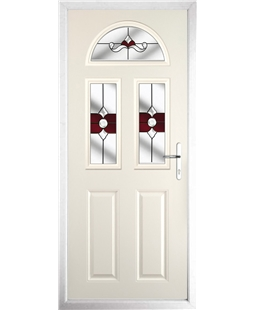 The Glasgow Composite Door in Cream with Red Crystal Bohemia