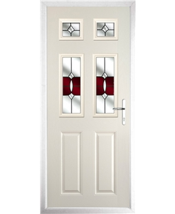 The Oxford Composite Door in Cream with Red Crystal Bohemia