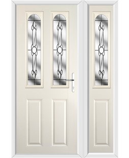 The Aberdeen Composite Door in Cream with Crystal Bohemia and matching Side Panel