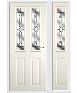 The Cardiff Composite Door in Cream with Crystal Bohemia and matching Side Panel