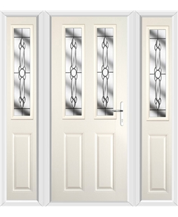 The Cardiff Composite Door in Cream with Crystal Bohemia and matching Side Panels