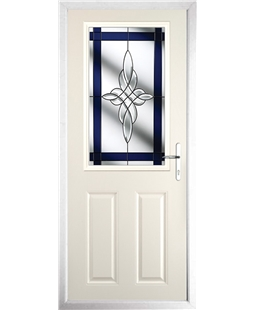 The Farnborough Composite Door in Cream with Blue Crystal Harmony