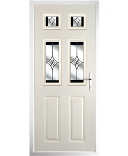 The Oxford Composite Door in Cream with Black Crystal Harmony