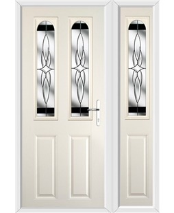 The Aberdeen Composite Door in Cream with Black Crystal Harmony and matching Side Panel