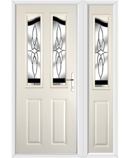 The Birmingham Composite Door in Cream with Black Crystal Harmony and matching Side Panel