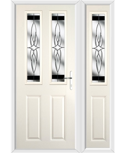 The Cardiff Composite Door in Cream with Black Crystal Harmony and matching Side Panel
