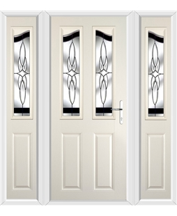 The Birmingham Composite Door in Cream with Black Crystal Harmony and matching Side Panels